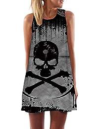 GYYWAN Vestido De Calavera Mujer Esqueleto Boho Gris Tinta De Impresión 3D Oficina Playa Gótica Ropa De Mujer Señoras Vintage