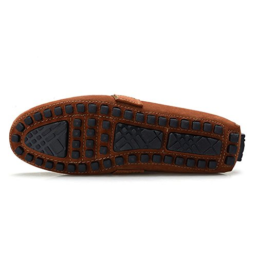 Rismart HommesÉlégant NATO-Bande Mocassins Cuir Suédé Chaussures de Conduite 0028 Bronzer
