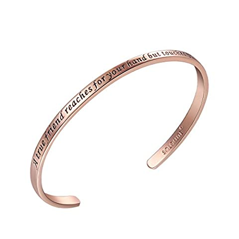 SOLOCUTE Rose Gold Cuff Bangle Bracelet Engraved