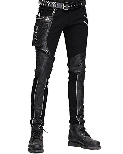 Devil FASHION HOMBRE dieselpunk Pantalones Vaqueros Negro Gótico Punk Piel Sintética Hip Bolso - Negro, Large