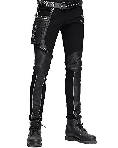 Devil MODA UOMO Dieselpunk jeans nero punk gotica Faux Leather Hip Bag - negro, Grande