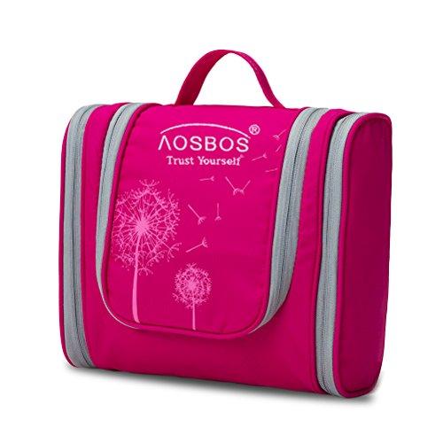Aosbos Neceser Impermeable Colgando de Viaje Bolsa de depote para Hombre Organizador de Maquillaje para Mujer (rosa)