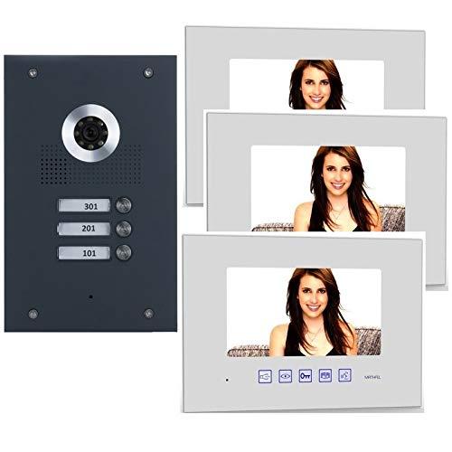 3-Familienhaus 2 Draht BUS Video-Türsprechanlage mit Kamera, Monitor Glasscheibe weiß (Frontblende in Edelstahl RAL 7016 Anthrazit), Fischaugenkamera 170 Grad