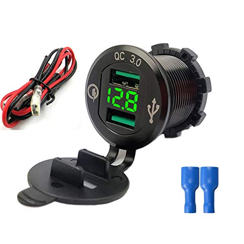 USB Auto Steckdose Quick Charge 3.0 Dual Auto Ladegerät 12V/24V 36W USB KFZ Ladegerät QC 3.0 Wasserdichte Universalität Auto Zigarettenanzünder Adapter für Motorrad, Wohnwagen, Boot,LKW