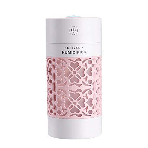 XPFF 250ML Mini USB humidificador portables Frescos humidificador silencioso del Aire con Luces LED for el hogar, Dormitorio, Oficina, Viajes de Coches, Yoga, Cuarto de bebé (Color : Pink)
