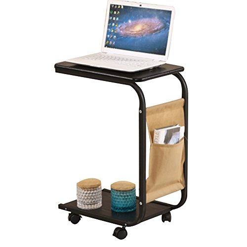 Zfggd Laptop-Schreibtisch-Stand für Bett-Multifunktionsbewegliches Nachttisch-Beistelltisch-Bücherregal-Regal mit Rolle, 2 Schicht, 4 Farben, hohe 65CM (Color : Black) -