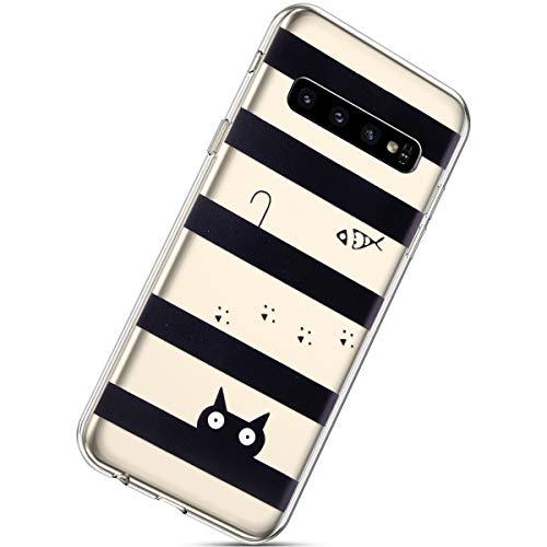 Herbests Kompatibel mit Samsung Galaxy S10 Hülle Silikon Handyhülle Durchsichtige TPU Case Clear TPU Schutz Handytasche Crystal Clear Schutzhülle Weiche Silikon Bumper Case,Katze Fisch