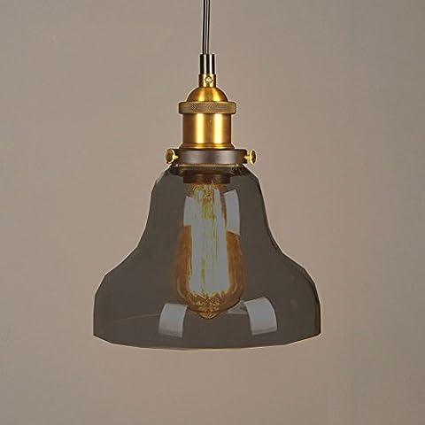 Cozyle Vintage Style industriel Edison Pendentif Hanging lumière verre Chapeau de fumée