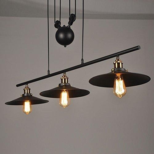 Licht-kristall-suspension (WW Suspension 3 Lichter mit Eisen Flaschenzug Effekt Retro Black)