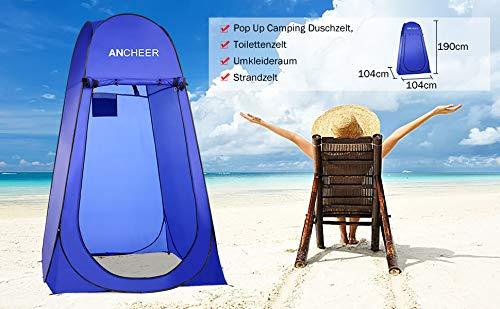 ANCHEER Ultraleichtes Segeltuch Umkleidezelt Pop up Zelt tragbares Duschzelt Outdoor WC Zelt Toilettenzelt für Camping (Blau) - 3