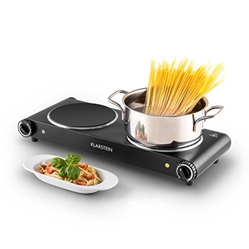Klarstein Captain Cook² Duo • Double plaque de cuisson • 1200 watts • 18 cm de diamètre • Cristal anti-rayures • 300°C en 30 secondes • Fentes d'aération • Voyants LED • Noir