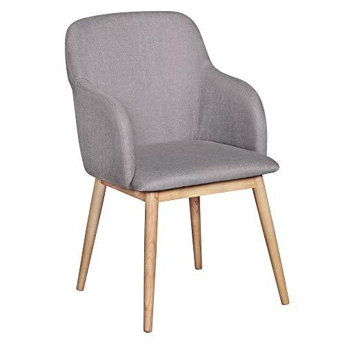 FineBuy Design Esszimmerstuhl FB5065 mit Armlehnen Polsterstuhl Grau | Skandinavischer Schalenstuhl mit Stoffbezug | Gemütlicher Armlehnenstuhl mit Holzbeinen | Esszimmer-Sessel Modern - Classic Hochlehner Sessel