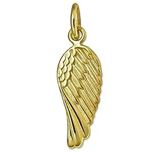 CLEVER SCHMUCK Goldener kleiner Anhänger Mini Engelsflügel 15 mm glänzend 333 GOLD 8 KARAT für Kinder