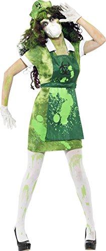 Smiffys, Damen Biogefahr Kostüm, Kleid, Schürze, Mütze, Maske und Handschuhe, Größe: S, (Kostüme Halloween Kleid Grünes Ideen)