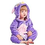 MICHLEY Baby Spielanzug Schlafanzug Flanell Frühling Strampler Pyjama kostüm Bekleidung Karikatur Tier Jumpsuit für mädchen und Junge(Lila 80)