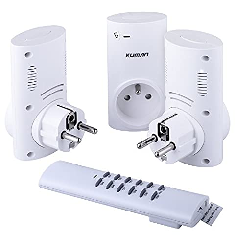 Kuman Wireless Remote Control Electrical Outlet Switch for Household Appliance Lamp Light KJ02