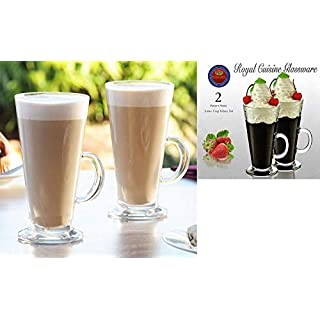 AQS INTERNATIONAL 2 Piece Entertain Tall Glass Coffee Tea Latte Cappuccino Cups Mugs Glasses Set 270ml