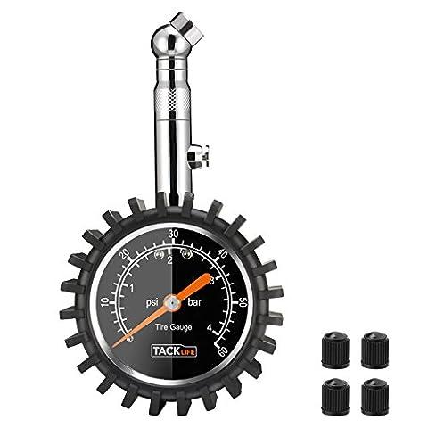 Tacklife TPS02S Classique Manomètre/Manomètre de Pneu /Jauge de Pression des Pneus avec Grand Cadran 60 PSI et rotation à 360 ° Pour Voiture, Moto, Vélo, Camion, RV, SUV, ATV etc