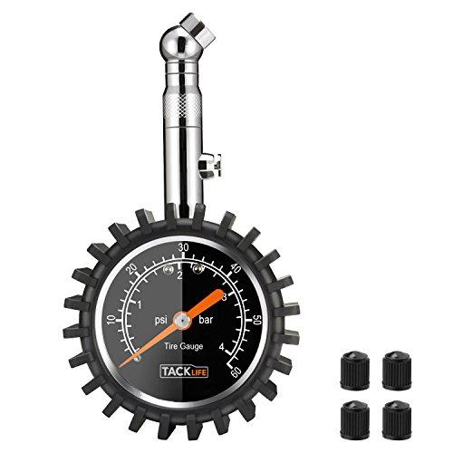Tacklife TPS02S Klassischer Reifendruck Manometer0-60 PSI, Reifendruckmesser mit Zifferblatt, 360° drehbares Kugelgelenk für Auto, Motorrad, LKW, SUV, Inkl.4 Ventilkappen