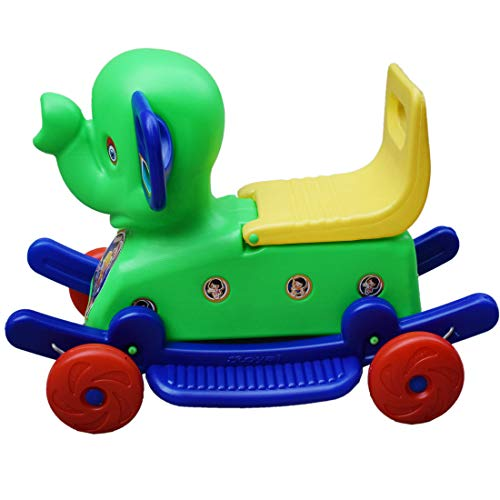 Bluday Rocking Horse in Elephant Style 2 in 1 Horse Rocker â??nâ?? Ride on Green with Storage Box for Kids 1 to 3 Years ( Color May Vary )