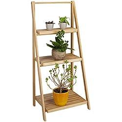 Relaxdays - Escalera para Flores, Interior, 3Niveles, bambú, Plegable, estantería para Plantas, 99 x 45 x 32cm (Alto x Ancho x Prof.), Madera, Color Natural