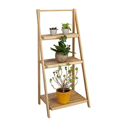 Relaxdays Blumentreppe innen, 3 Stufen, Bambus, klappbar, Leiterregal, Pflanzenregal, H x B x T 99 x...
