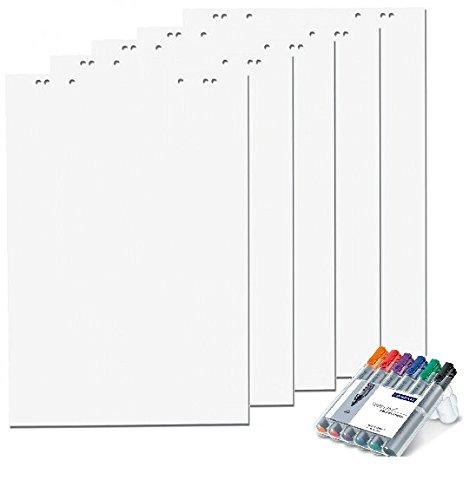 5x Flipchartblöcke + 6er Set Flipchartmarker, weiß Blanco, je Block 20 Blatt 69x99 cm, 6 fach Lochung, perforiert, Papier für Flipchart (5 Blöcke + Markerset 6er)