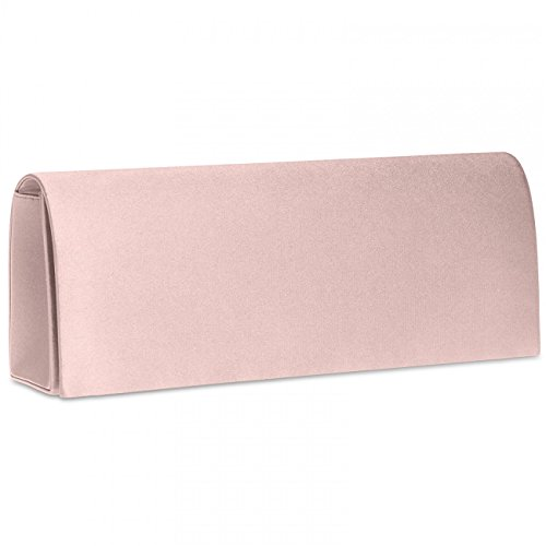 CASPAR TA278 Damen Satin Clutch Rosa