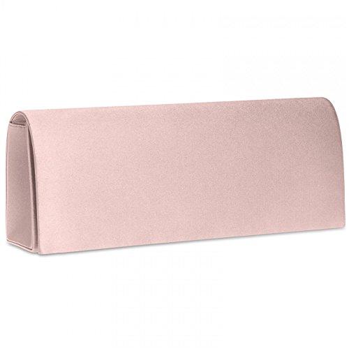 CASPAR TA278 Damen Satin Clutch , Farbe:rosa
