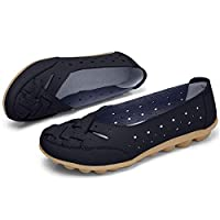 Comfy Slipony Women's Moccasins Womens Ladies Girls Boat Shoes,Hollow Wide Width Slip On Casual Leather Flat Loafers Ballet Shoes (7, Black)