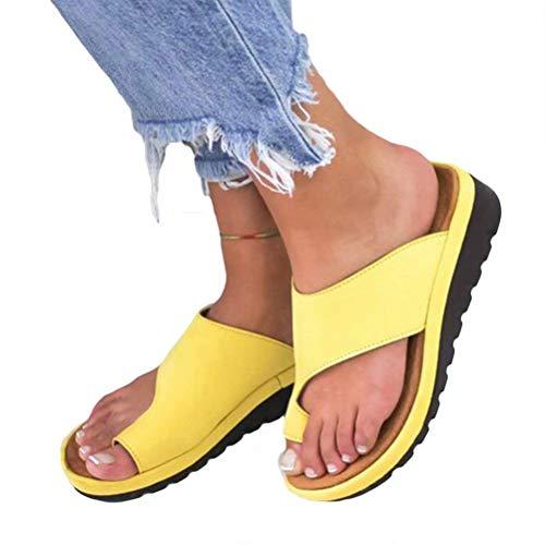 Beaulies Women Sandal Comfy Platform Sandal Shoes 2019 New Summer Slides Slippers Sandal Toe Platform Flip Flop Shoes Beach Travel Shoes (Yellow) Back Platform Sandal