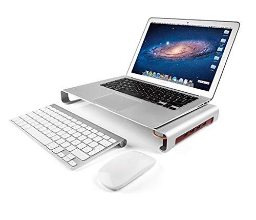 Preisvergleich Produktbild LIGHTOP Monitor Riser Ständer Bildschirm Bildschirmständer Aluminium-Riser-Tischständer mit 4 USB Ports für iMac,  MacBook,  Laptop,  Notebook,  Computer und PC