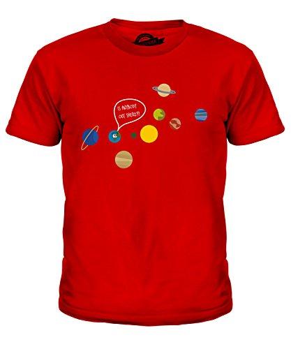 CandyMix Einsamer Planet Erde Unisex Jungen Mädchen T Shirt, Größe 4 Jahre, Farbe Rot (T-shirt Erde-mädchen)