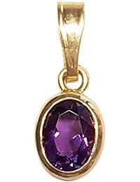 Clearance Pendentif Femme en Or 18 carats Jaune avec Améthyste, 1.8 Grammes