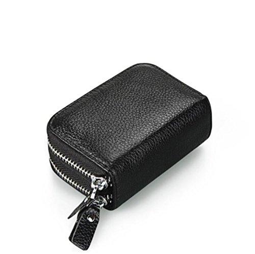 DcSpring RFID Blocage Porte-cartes Petit en Cuir Véritable Porte-Monnaie Mini avec Double Zip pour Femme Homme (noir)