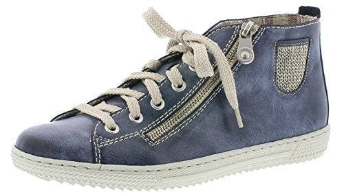 Rieker Damenschuhe L9402 Damen Kurzstiefel, Boots, High-top Sneaker, lose Einlage, Deko-Reißverschluss außen jeans/lightgold / 14