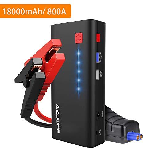 AZDOME Avviatore di Emergenza per Auto con capacità 18000mAh/66.6W, Jump Starter con 800A Corrente di Picco, Booster Batteria Auto Diesel|Torcia LED SOS|Uscita USB Quick Charge - XT01