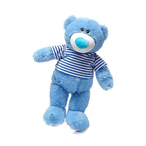 GIRISR Kuschel-Teddybär 60Cm Plüschbär Trägt EIN T-Shirt Teddy Kuscheltier Stofftier PP-Baumwollpolsterung,Blau
