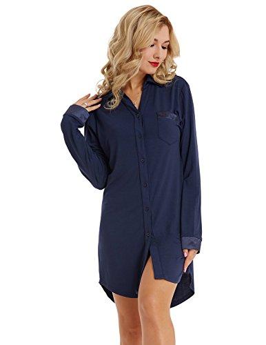 Nachthemd Zum Knöpfen Schwangerschaft Damen Nachthemd Baumwolle Sleepshirt nachtkleid Knielang Nachtwäsche Schlafanzug Dunkelblau L -