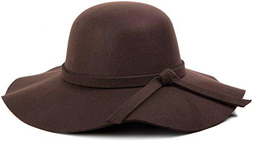 styleBREAKER Damen Floppy Fedora Filzhut mit abnehmbarem Zierband und Schleife 04025004, Farbe:Dunkelbraun
