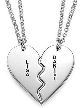 Gebrochene Herz Kette aus 925er Silber - Zwei kostenlose Wunschgravuren!