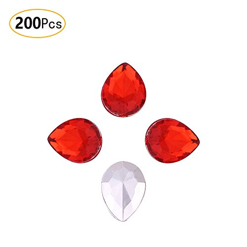 Anjing 13mm × 18mm Kristall Diamant Perlen Glas Strass für Vase Filler Schmuckherstellung Rosenblätter aus, Rot (Rote Glas Perlen Für Vasen)