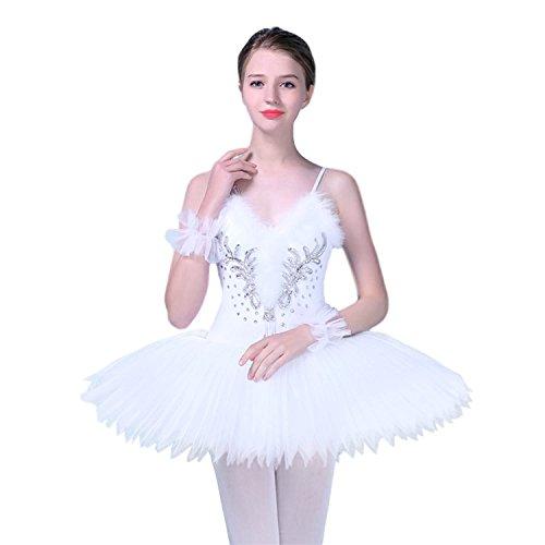 KAI-ROAD Damen Professionelles Ballett-Tutu-Kostüm, Harte Organdy-Platte, 8-lagiger Rock, Damen, weiß, - Klassischer Ballett Tutu Kostüm