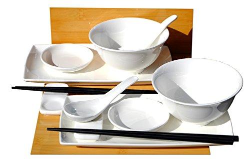 Gifts Of The Orient GOTO - Vajilla para sushi (para 2 personas, incluye platos, salseras, palillos, soporte para palillos, cuencos y cucharas), color blanco