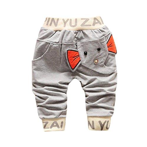 Baby Strampler Hirolan Kinderkleidung Mode Säugling Kleinkind Jungen Karikatur Elefant Drucken Hose Beiläufig Outfits 1T-4T Kinder Kleider (70cm, Grau) (Mädchen Schneeanzug Größe Xl)