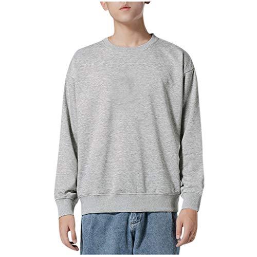 Xmiral Pullover Herren Langarm Rundhals Einfarbig Sweatshirts Tops Bodenbildung T-Shirts Dünn Fleece Slim Fit Sweat Langarm-Top-Bluse(Grau,L) -