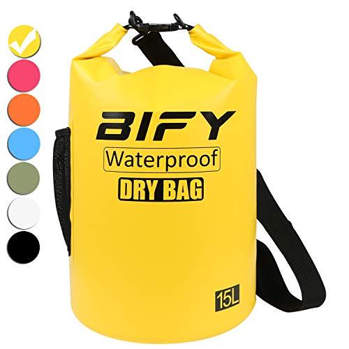 Dry Bag BIFY 5L/10L/15L/20L/25L/30L/40L Leicht Wasserfester Rucksack/Wasserdichte Tasche/Trockensack mit lang Verstellbarer Schultergurt für Boot und Kajak Wassersport Treiben (Gelb, 15L) (Wasser-tasche)