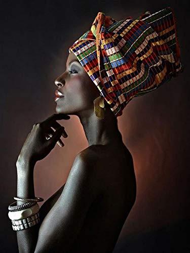 Bilder Auf Leinwand,Afrikanische Nackte Frau Indischen Stirnband Portrait Dekor Leinwand Gemälde Kunstdruck Poster Bild Wand Schlafzimmer Wohnzimmer Dekoration Malerei Wandbild, 70 X 100 cm -