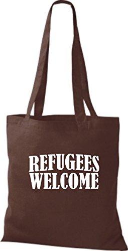 Shirtstown Stoffbeutell Refugees Welcome, Flüchtlinge willkommen, Bleiberecht viele Farben Braun