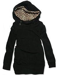 Tunika Kapuzen Pullover Leopard Jacke Hoody Hooded Longshirt Sweatjacke Fleece Jacke
